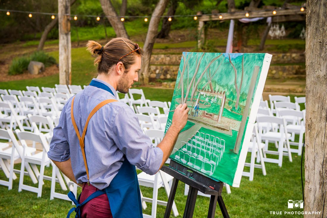 Painting of wedding ceremony or reception at Vista Valley Country Club
