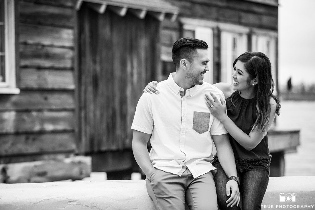 Engagement Photo of candid couple laughing