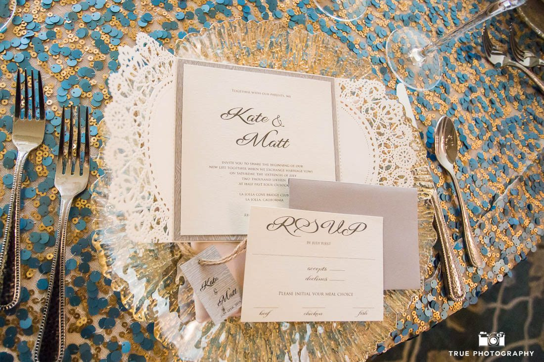 Wedding invitations and place settings