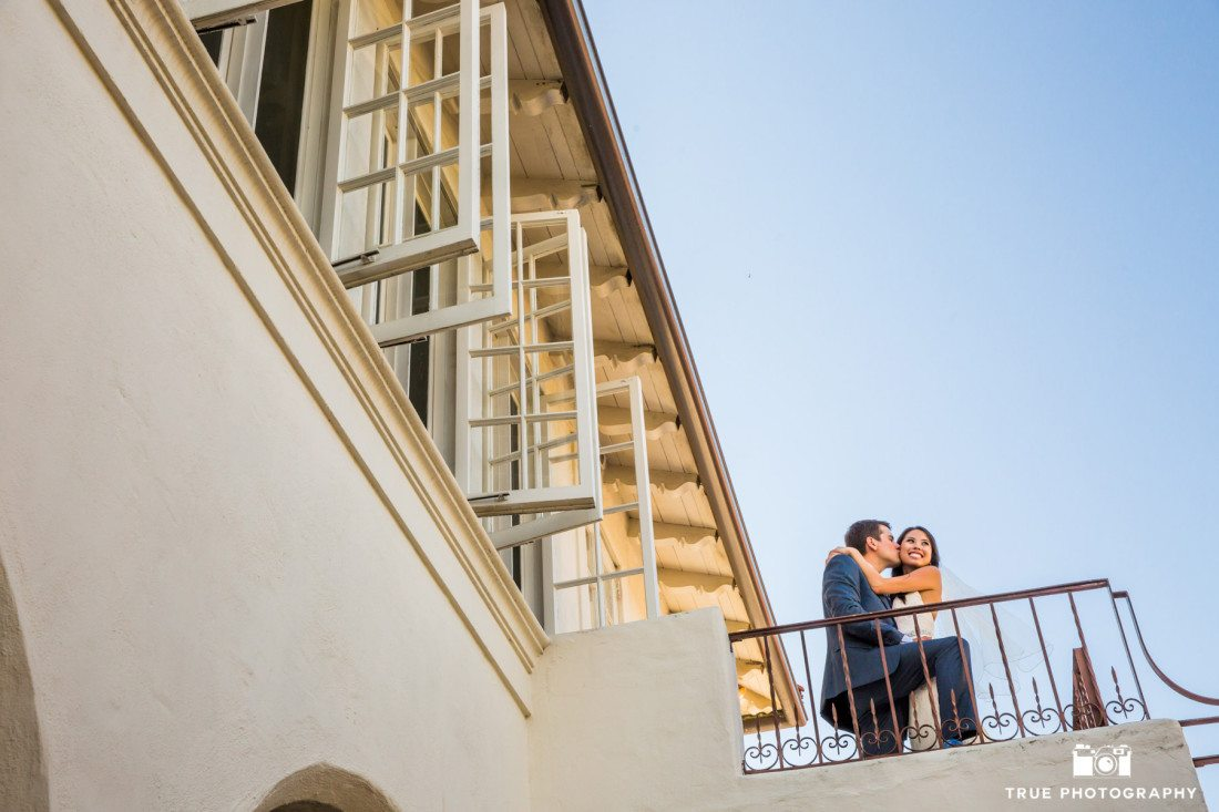 Romantic Moment outside of the Darlington House in La Jolla, San Diego, California