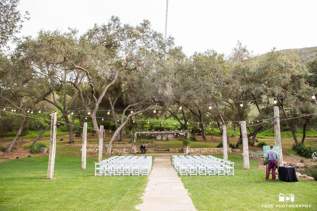 Wedding Ceremony set up with market lights