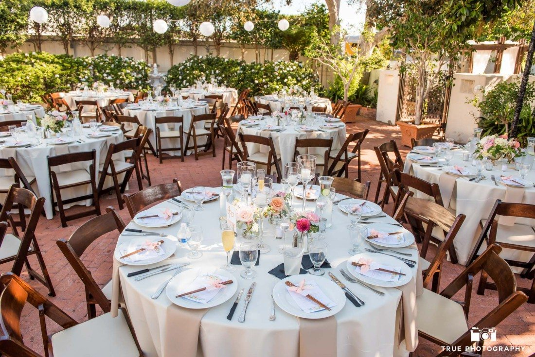 Detail photograph of outdoor wedding venue in La Jolla, California