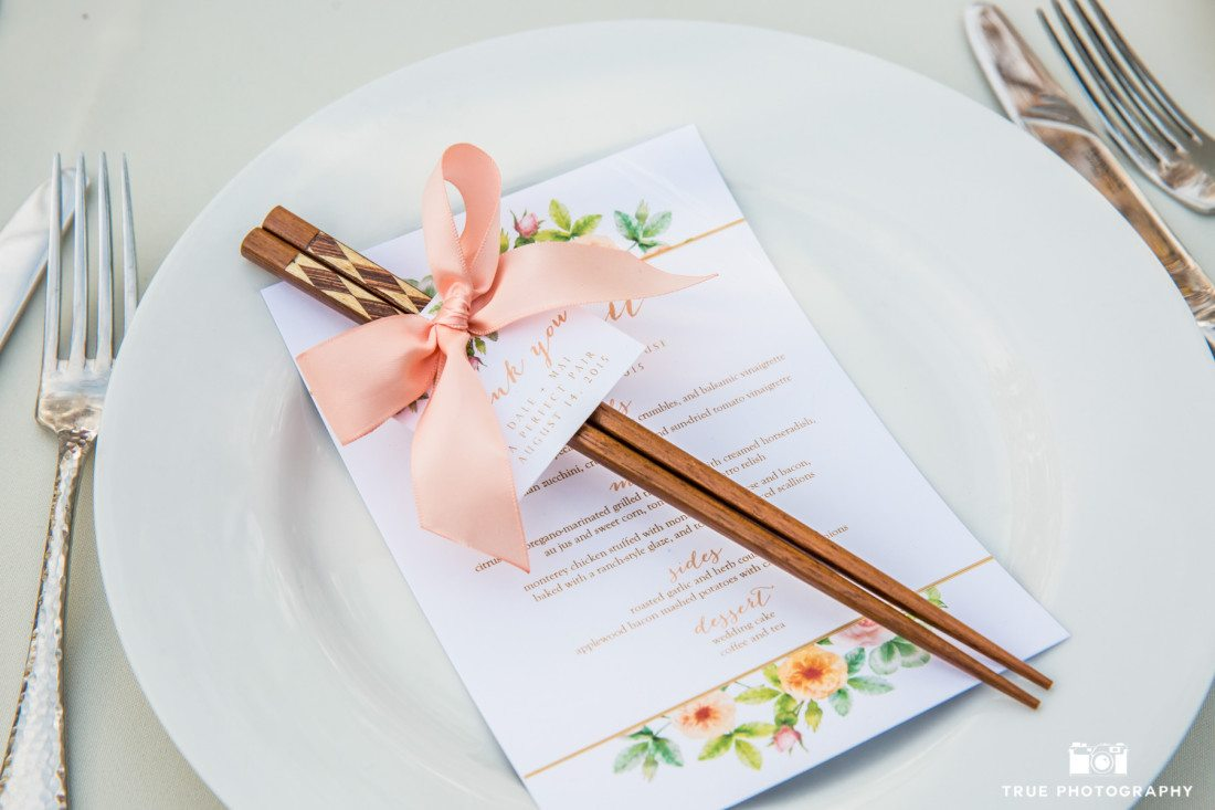 Chopsticks wedding favor at the Darlington House in La Jolla, California
