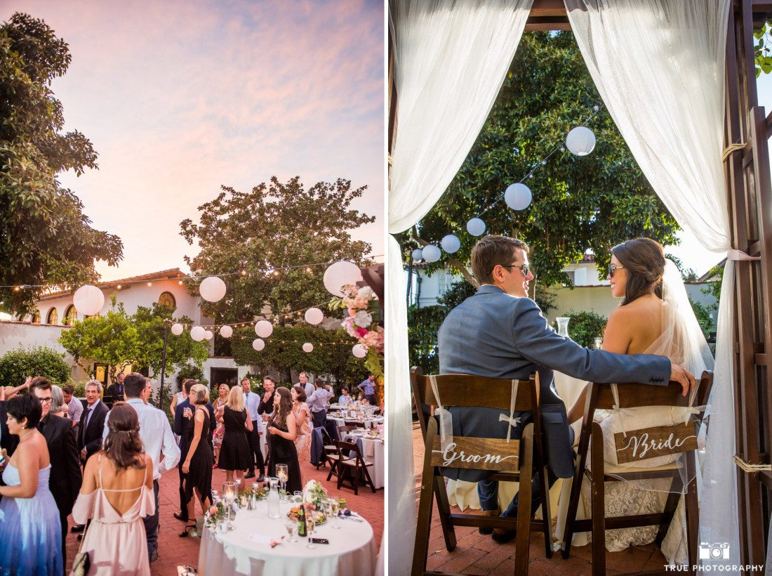 Bride and groom signs and venue photograph at the Darlington House at dusk in La Jolla, California