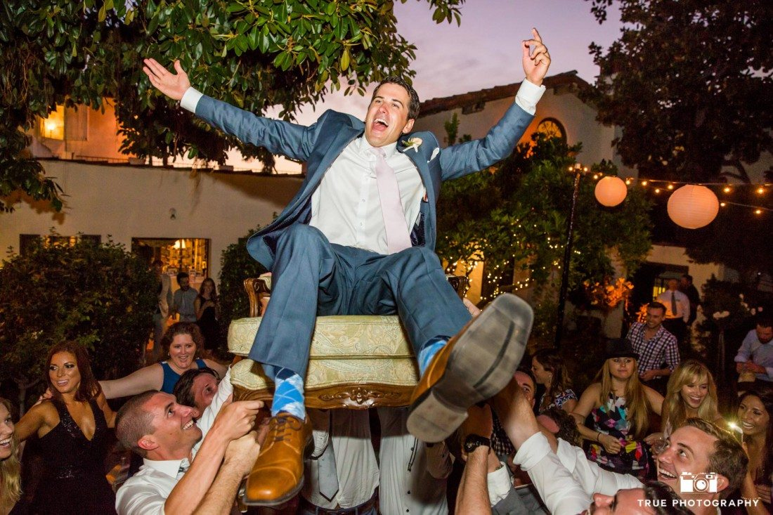 Happy Groom during Hava Nagila/Hora Dance at the Darlington House in La Jolla, California