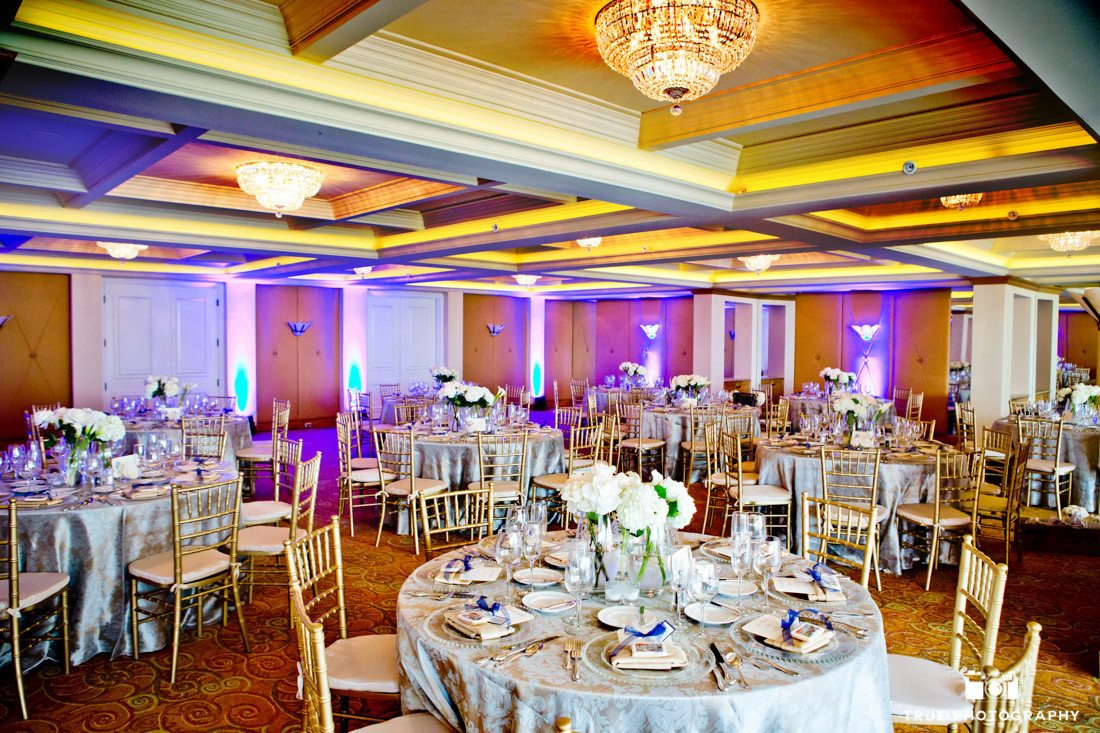 Elegant room photo of couple's wedding reception at La Valencia Hotel