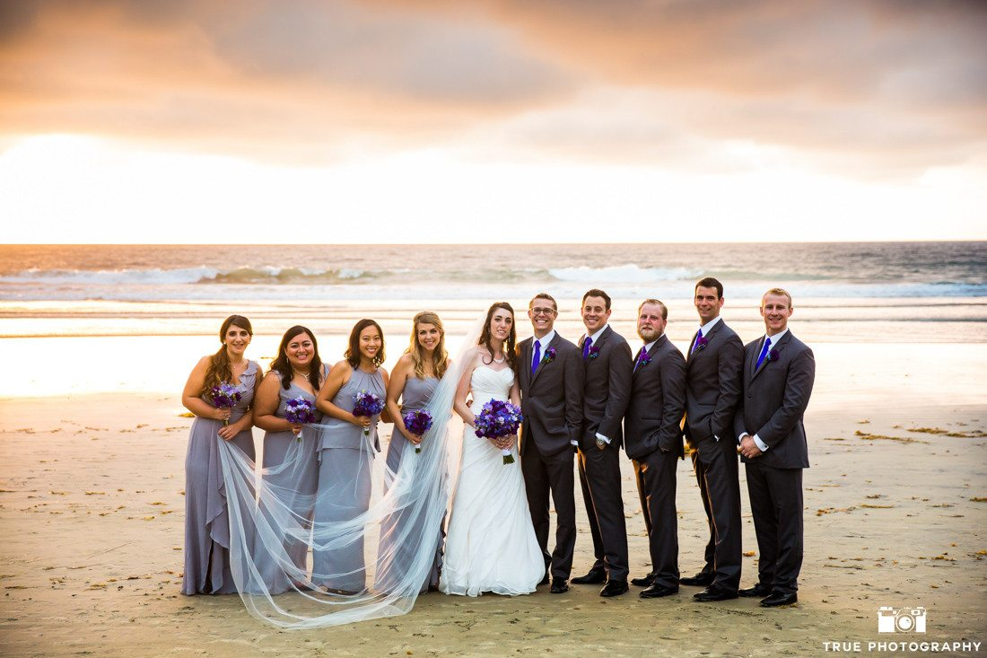 Bridal party beach portrait at La Jolla Shores