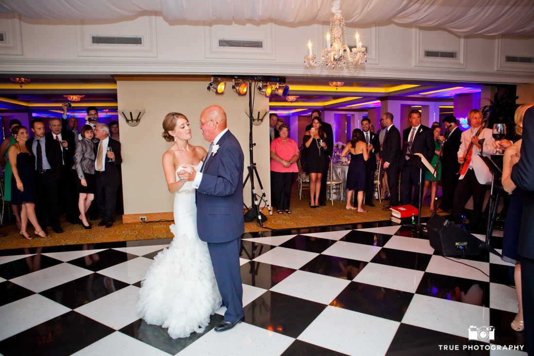 Bride and Groom share first dance at La Valencia Hotel