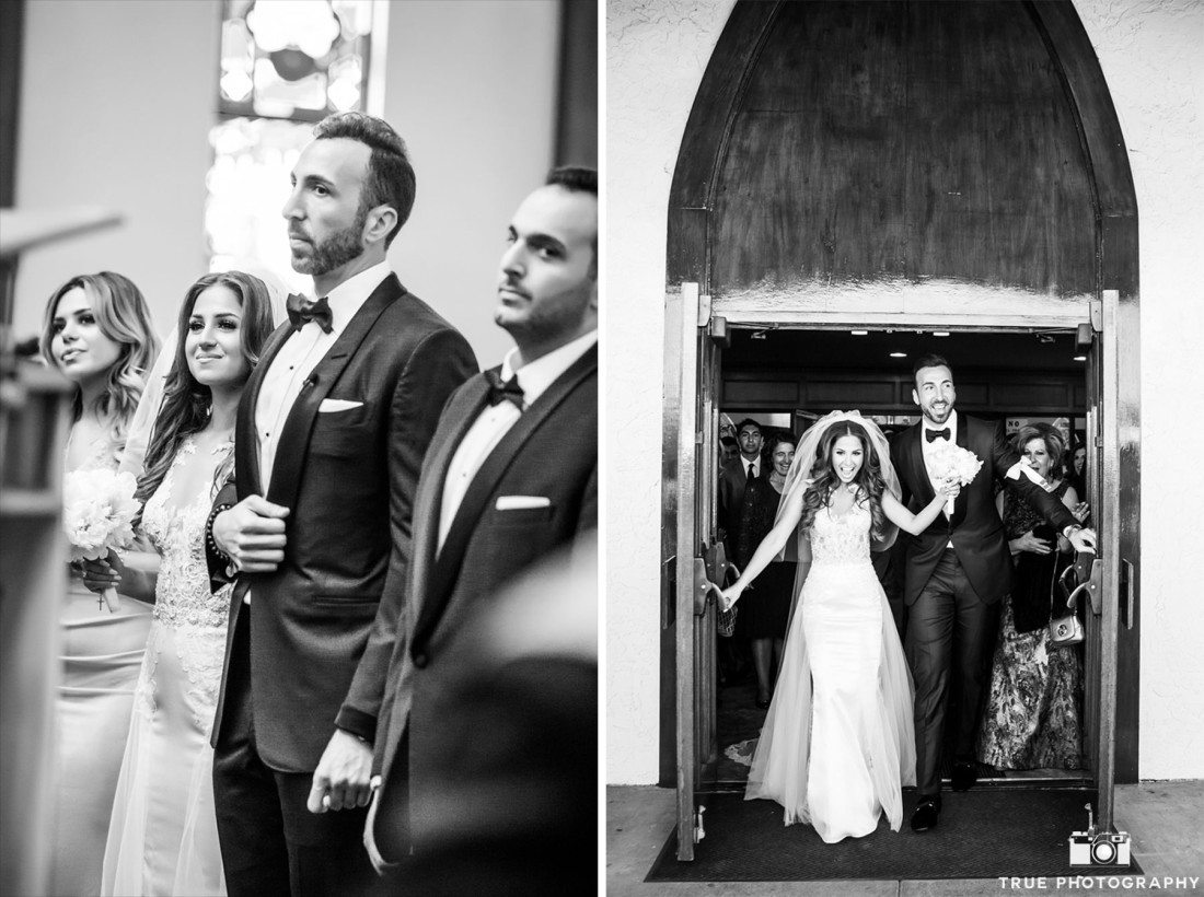 Emotional moments during couple's ceremony captured in black and white.