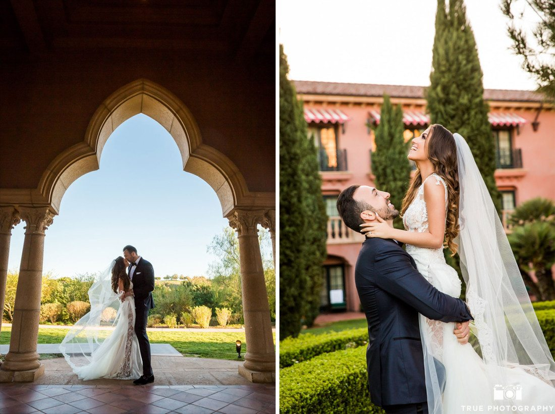 Elegant wedding couple take romantic photos before their reception at Grand Del Mar
