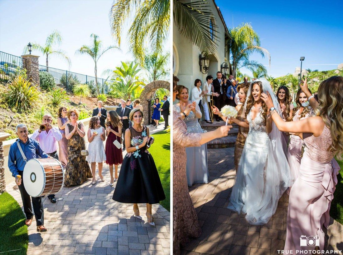 Guests celebrate Bride getting married with music and singing before she joins Groom