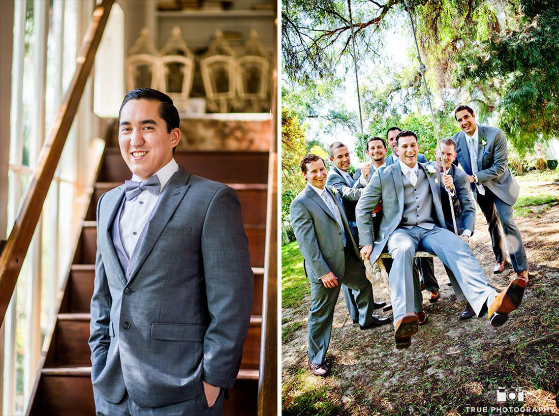 Groomsmen have fun and prepare for wedding at Green Gables Wedding Estate