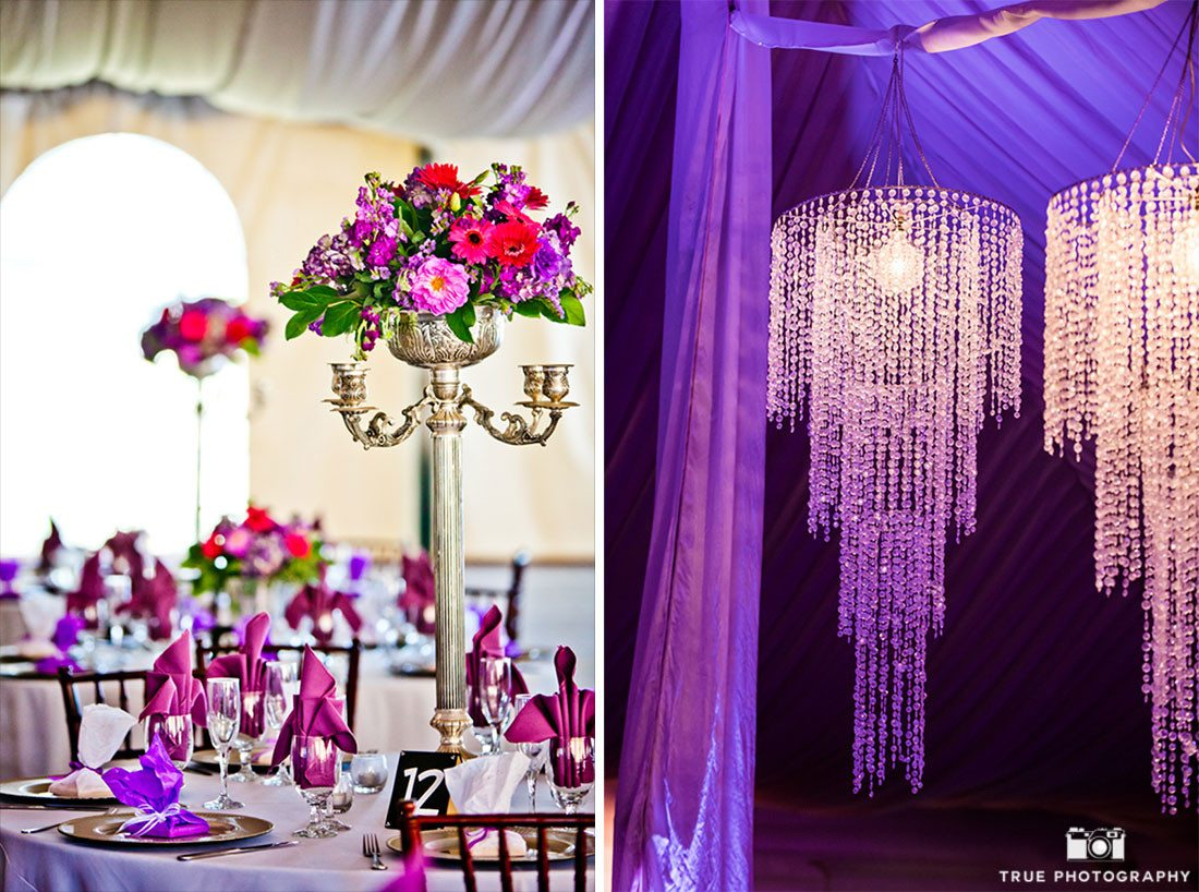 Ornate purple reception details at Green Gables