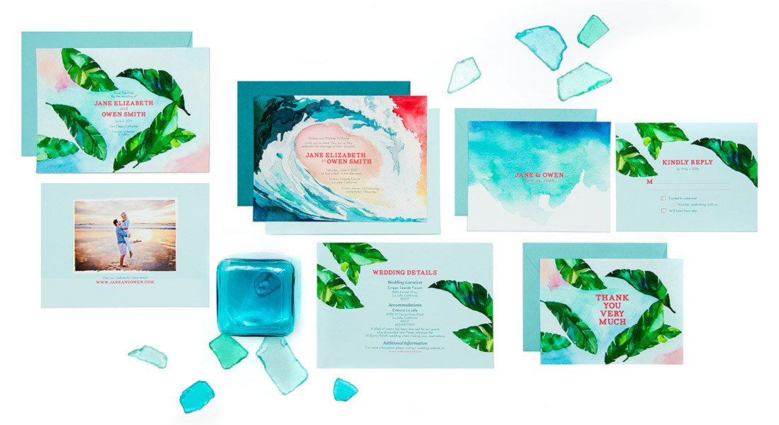 Product shot of invitation suite on arelor.com
