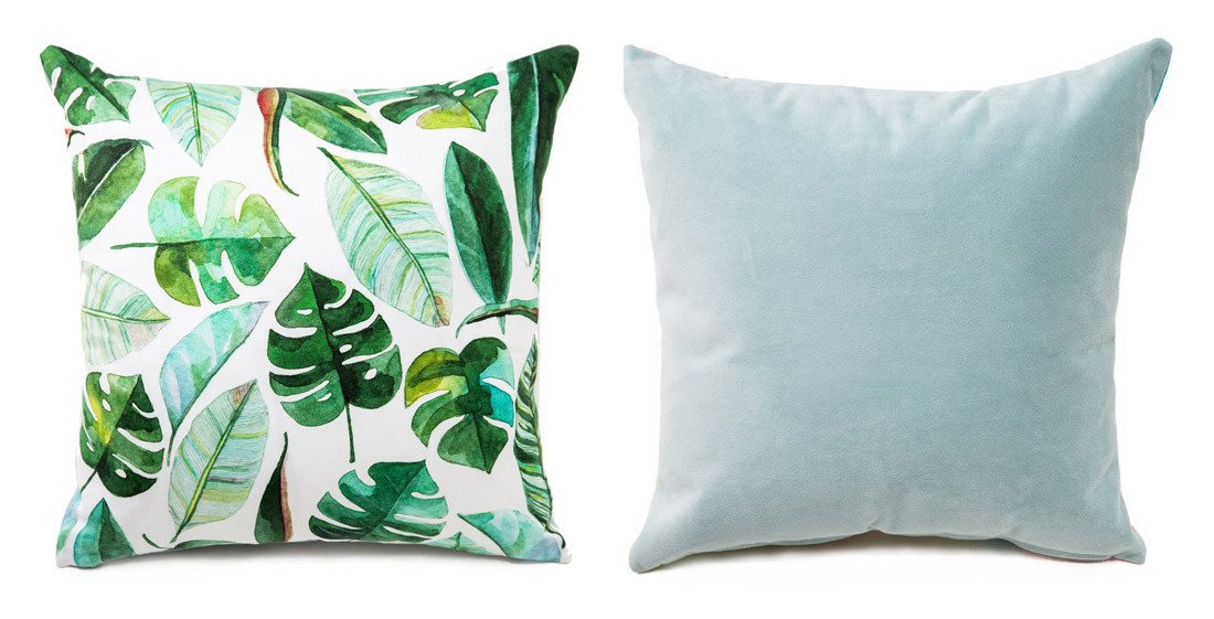 Product shot of tropical leaf boutique pillow on arelor.om