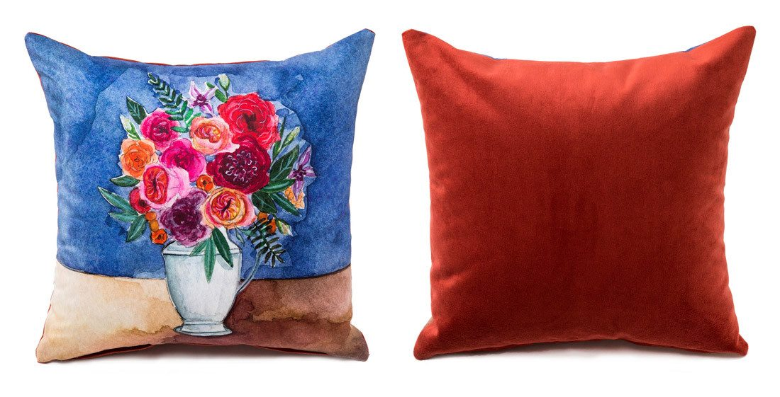 Product shot of floral vase boutique pillow on arelor.om