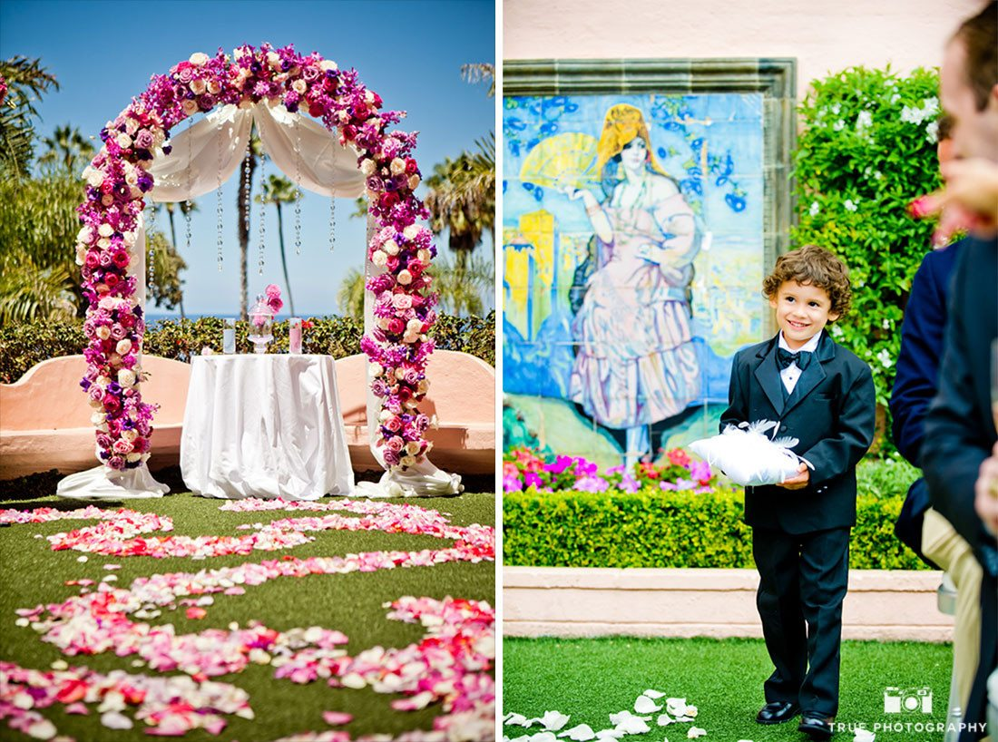 Collaged image of ceremony details at La Valencia Hotel