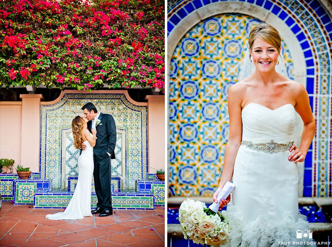 Modern Couples pose in front of colorful textile walls at La Valencia Hotel