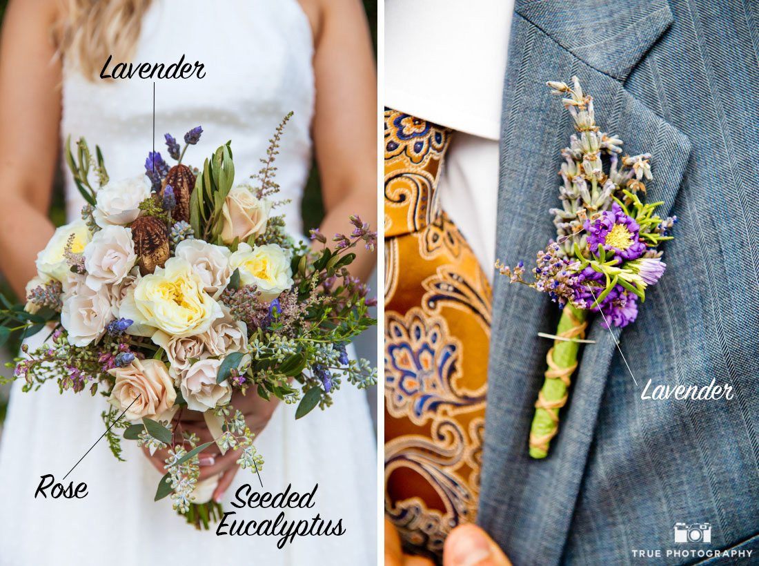 Lavender bouquet and boutonniere
