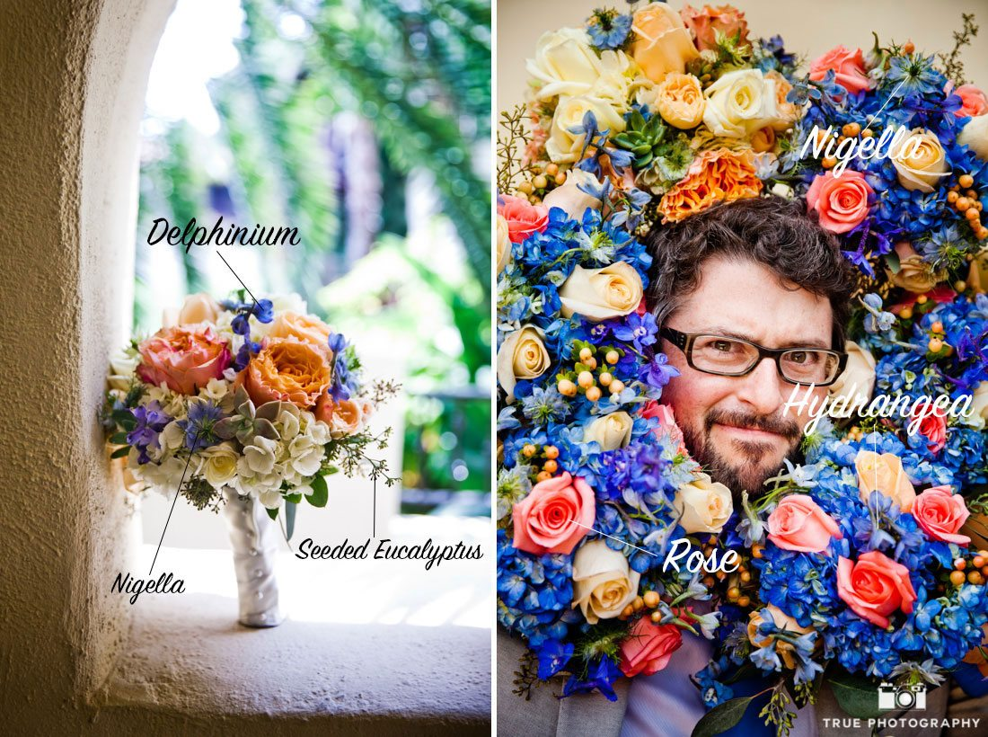Colorful bouquet of nigella flower