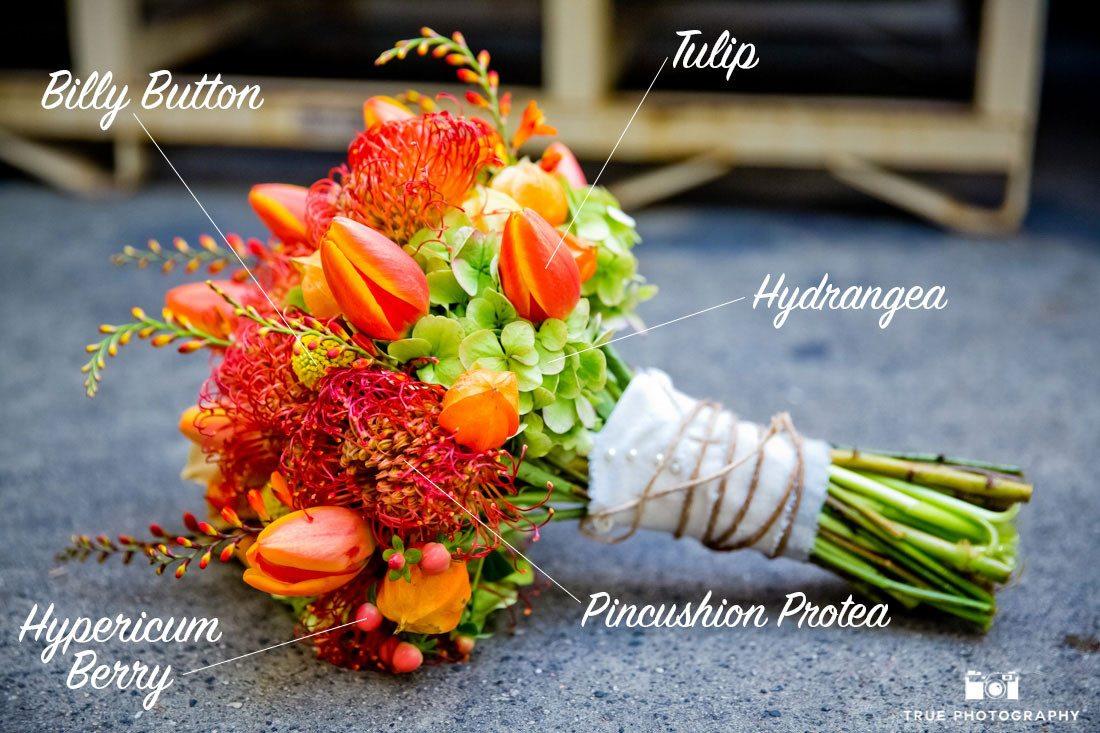 Colorful orange tulip bouquet