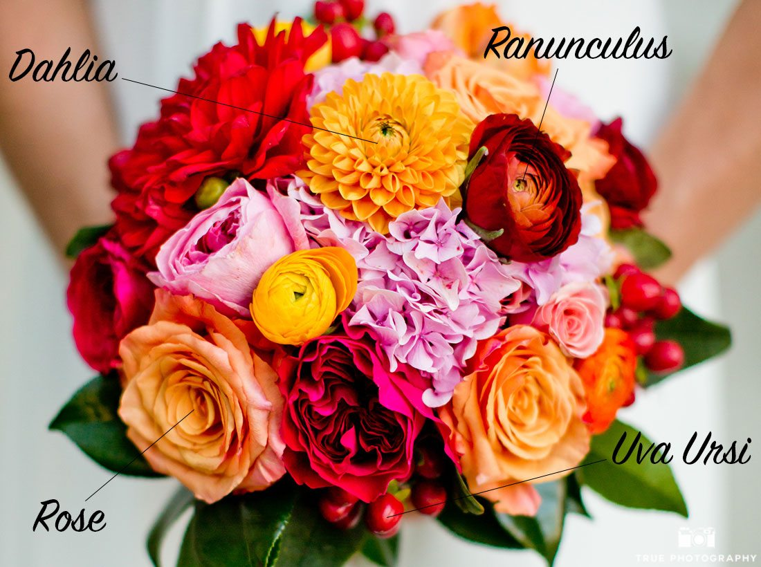 Colorful bouquet incorporating red uva ursi berries