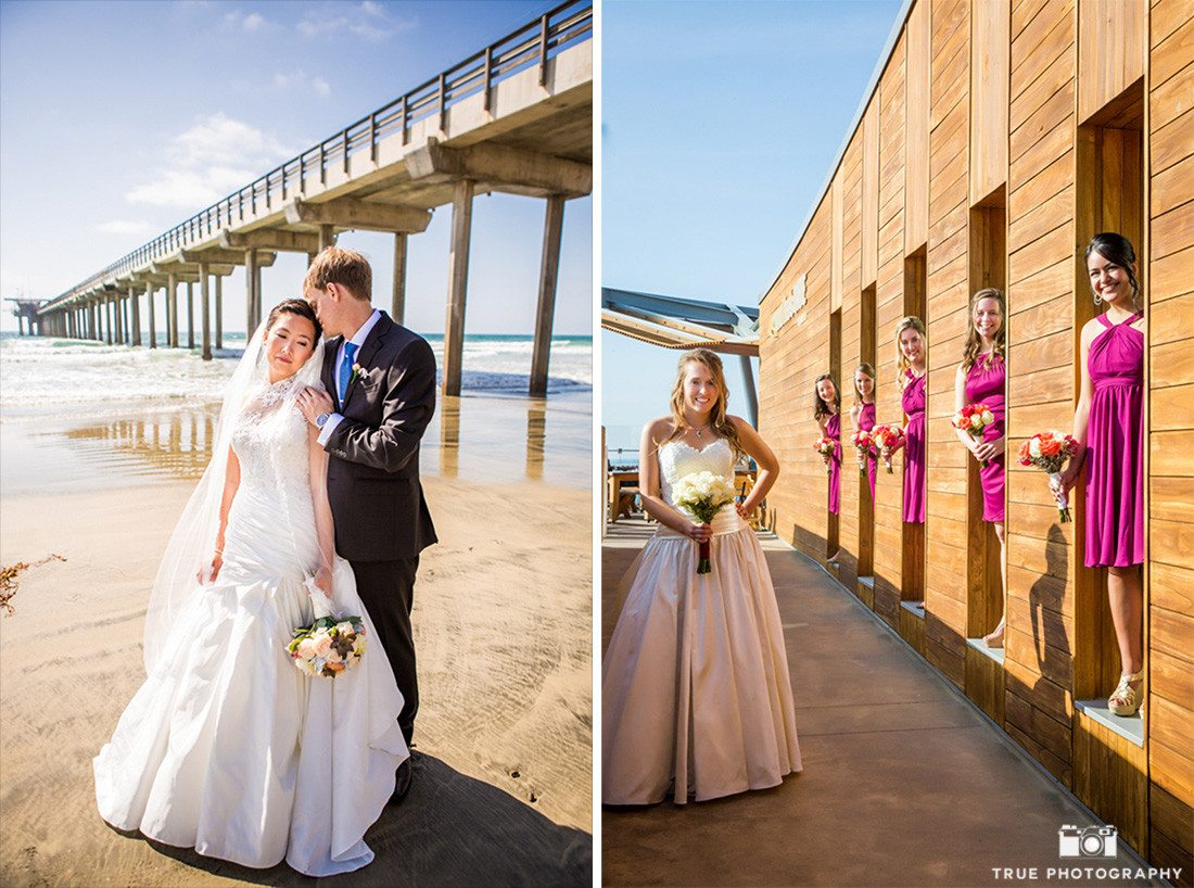 Bride and groom and bridesmaids portraits at scripps seaside forum