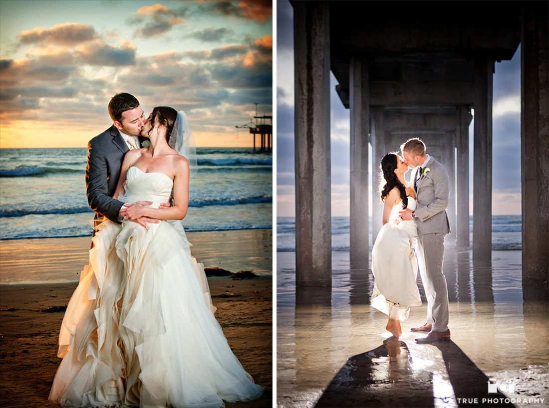 bride and groom portraits at scripps seaside forum