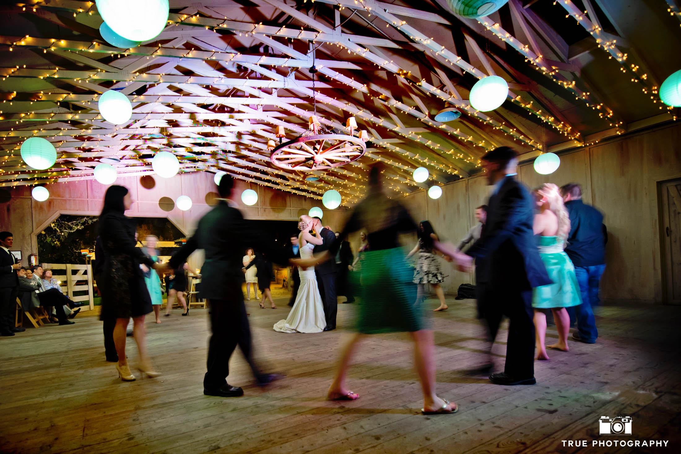 Bride and groom long exposure night shot