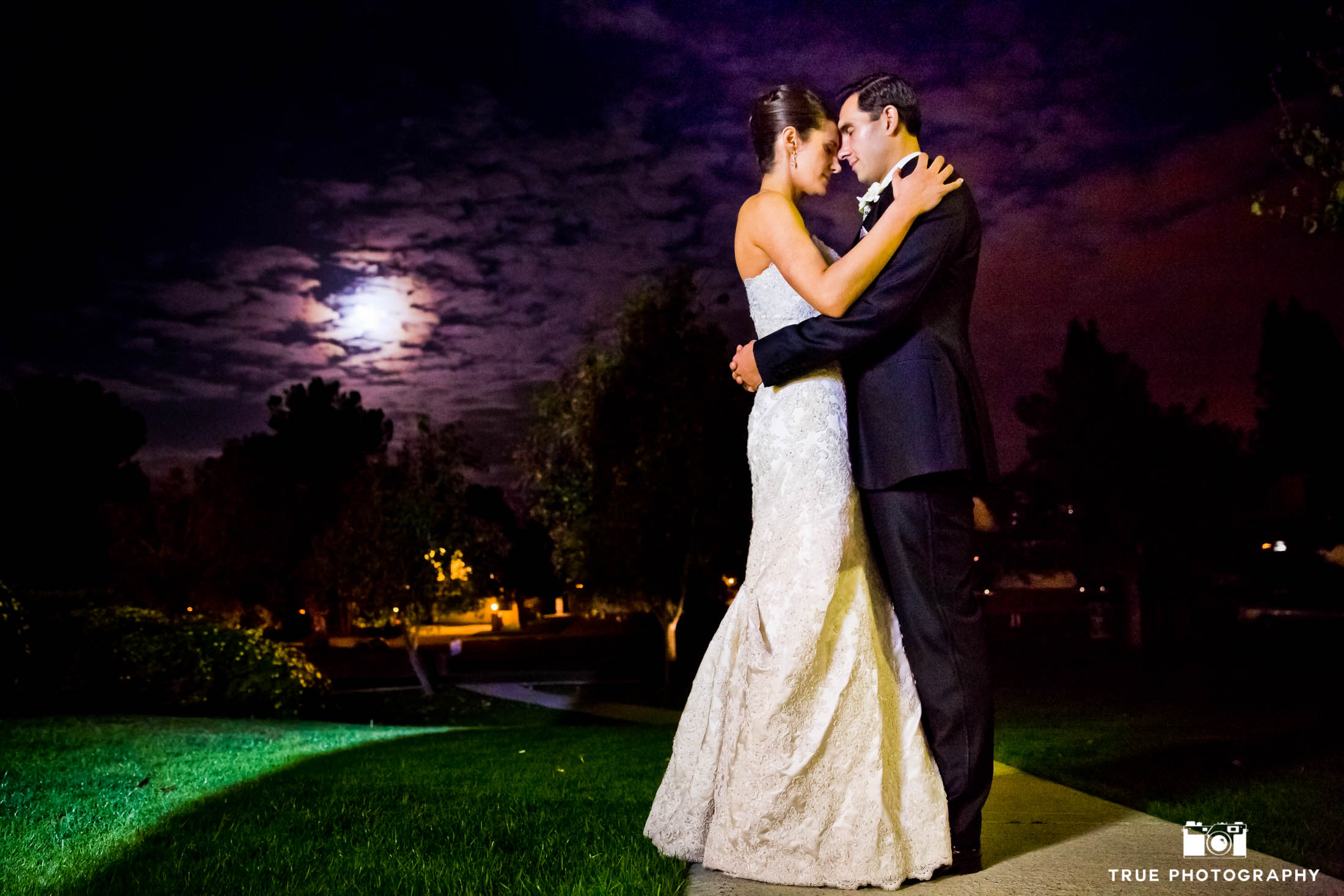 Moon light bride and groom night shot
