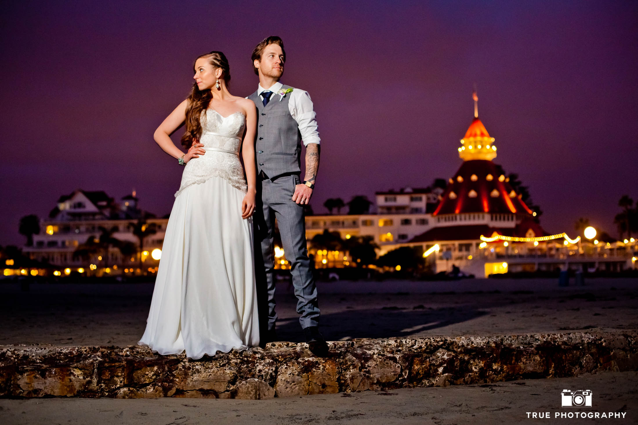 Coronado, California Hotel Del newlyweds night shot with purple sky