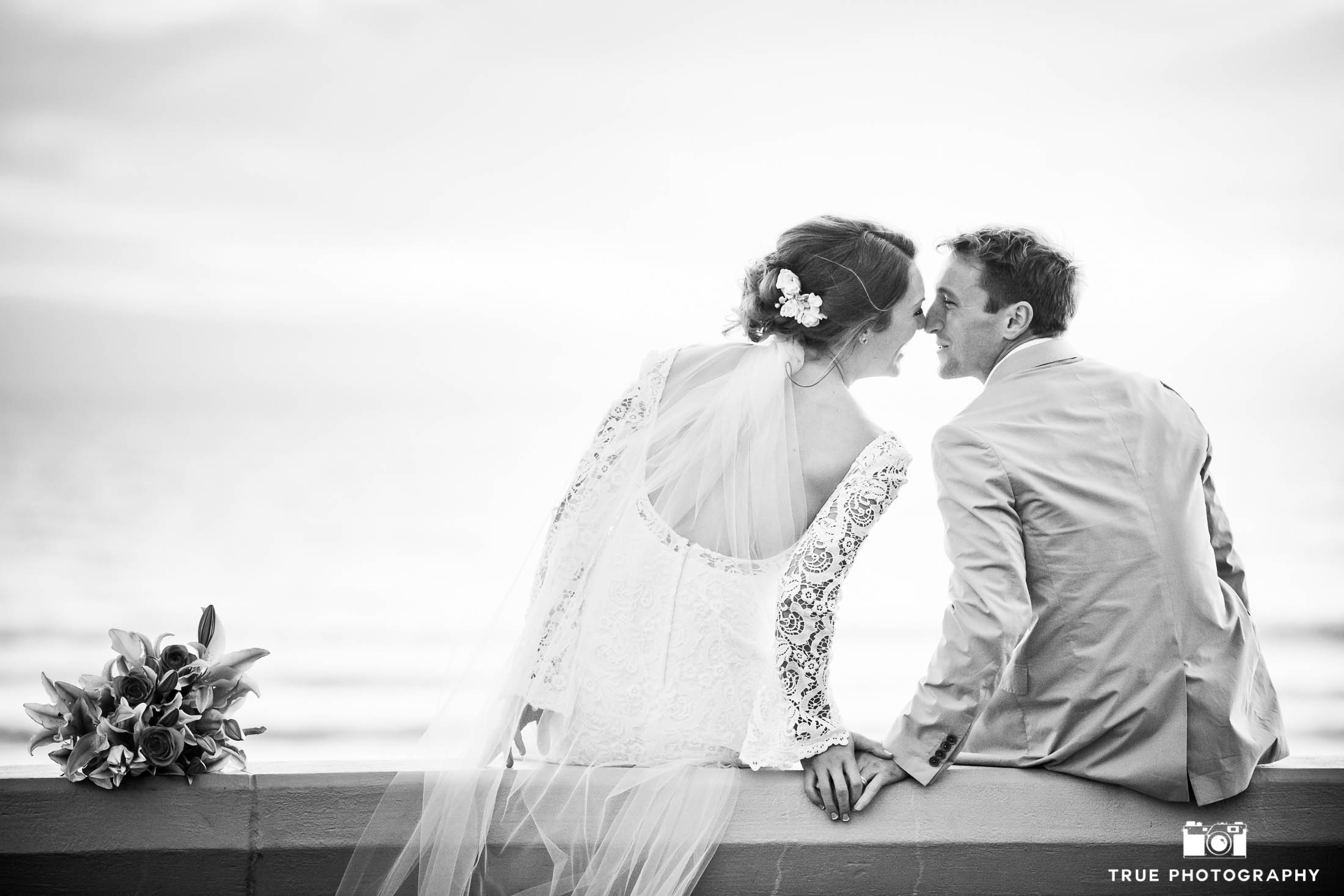 Coronado beach bride and groom portrait in black and white