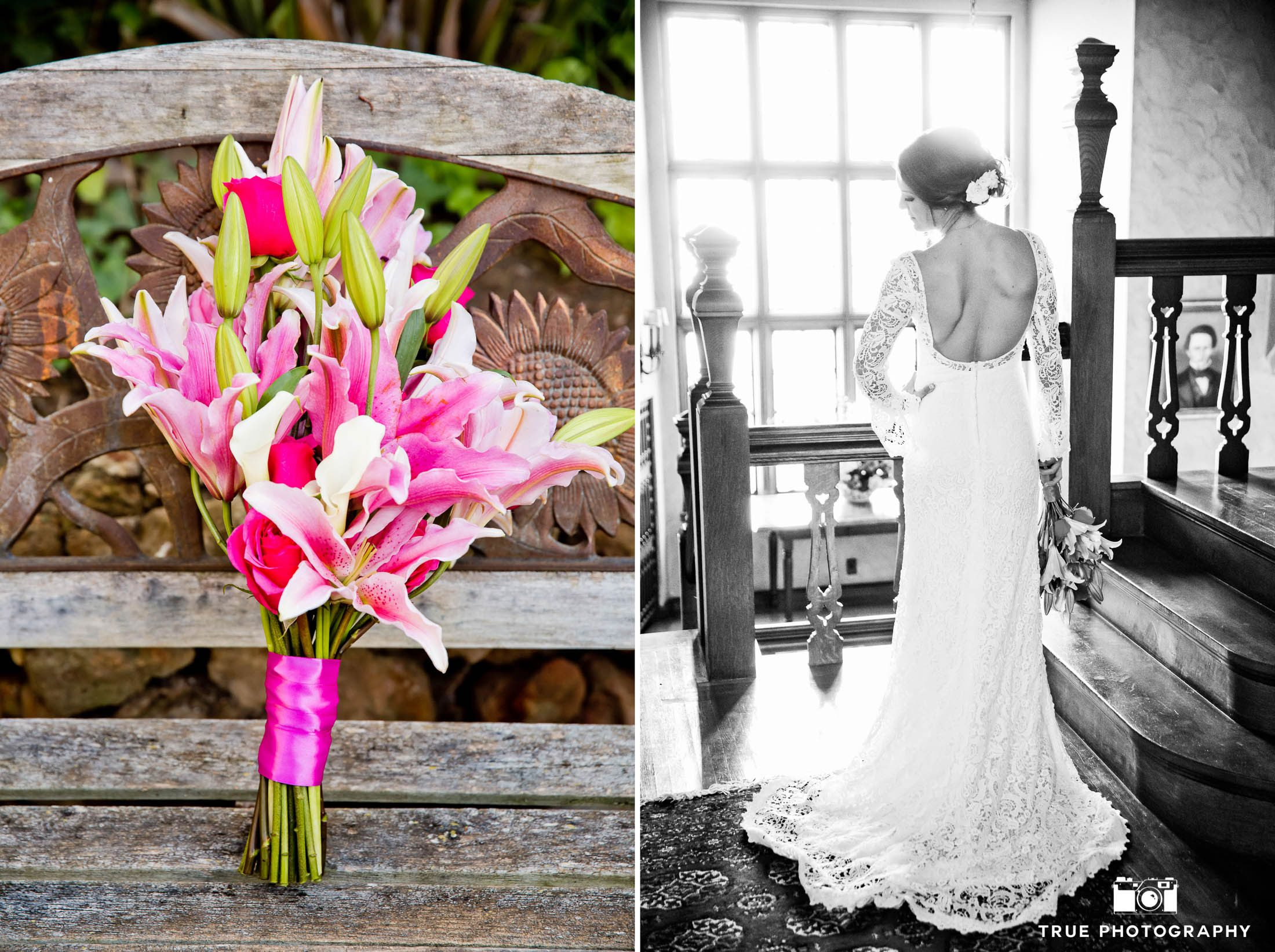 Coronado's Grand Historical Mansion Bride with bridal flower and dress