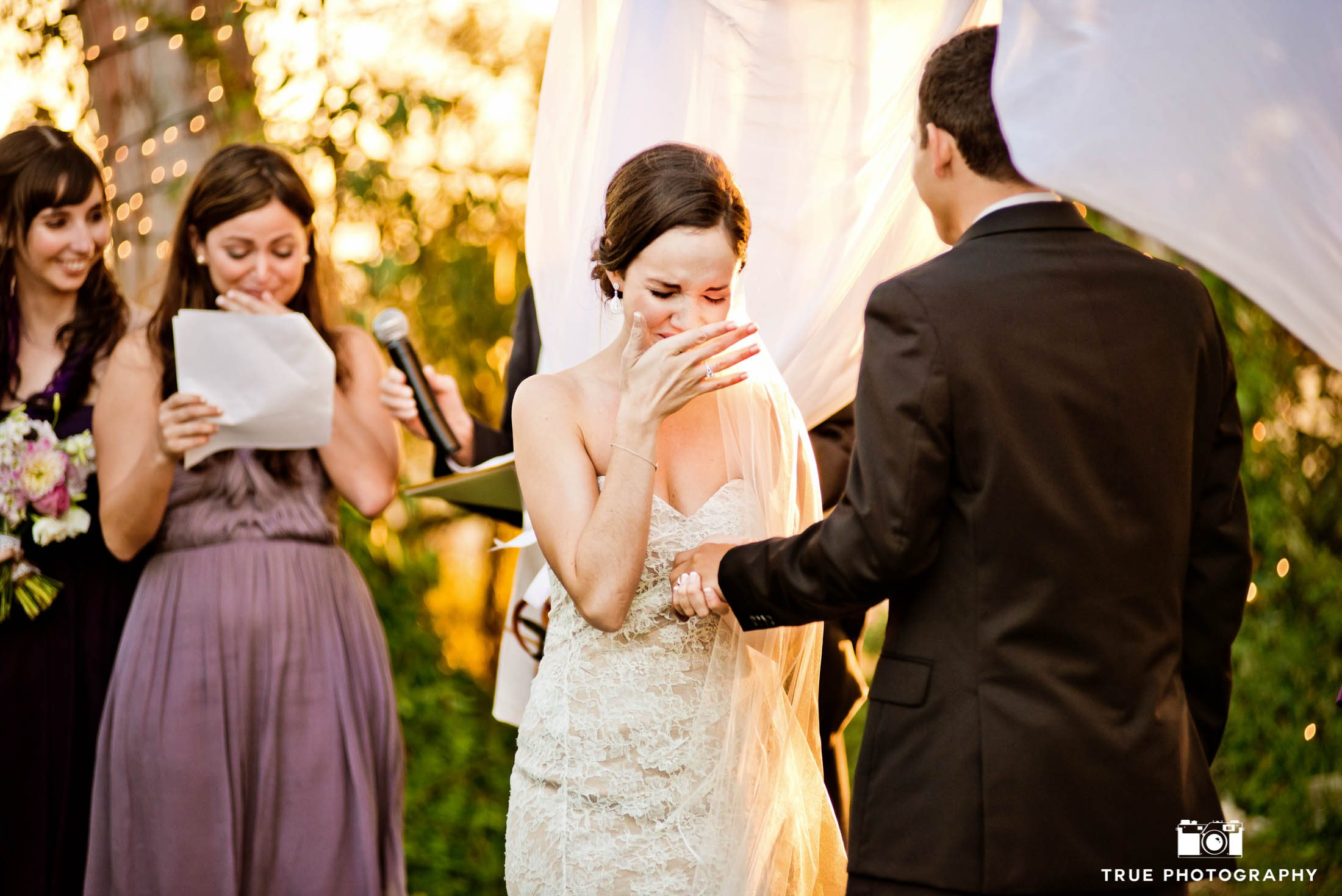 Bride's teary-eyed reaction to Groom during wedding ceremony