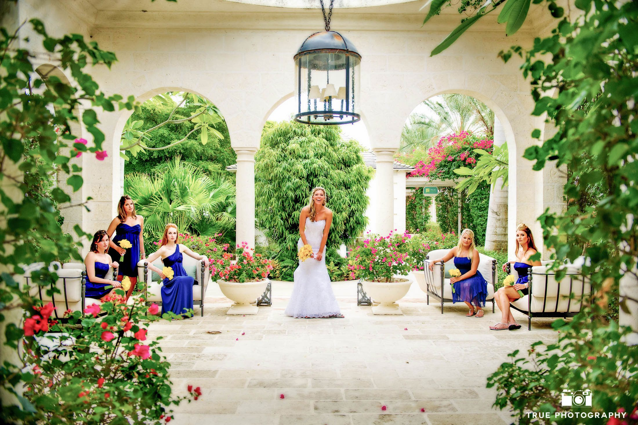 Beautiful architecture is utilized for destination wedding portrait.