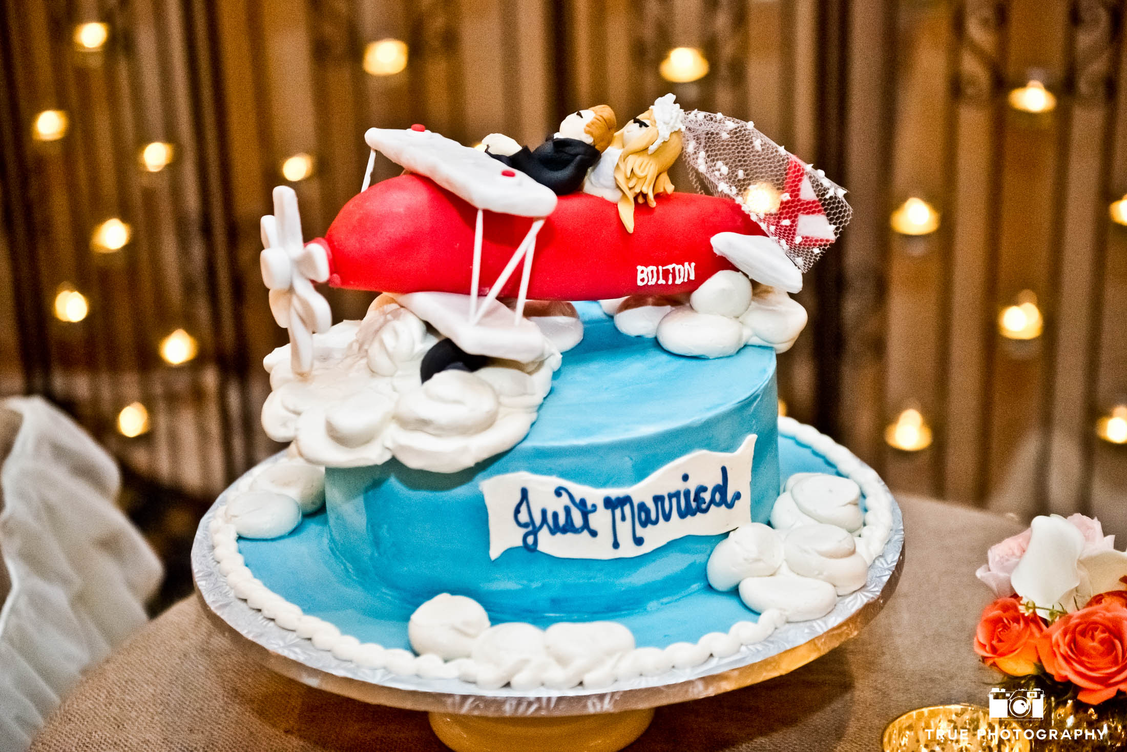 Cute and fun airplane topper with bride and groom