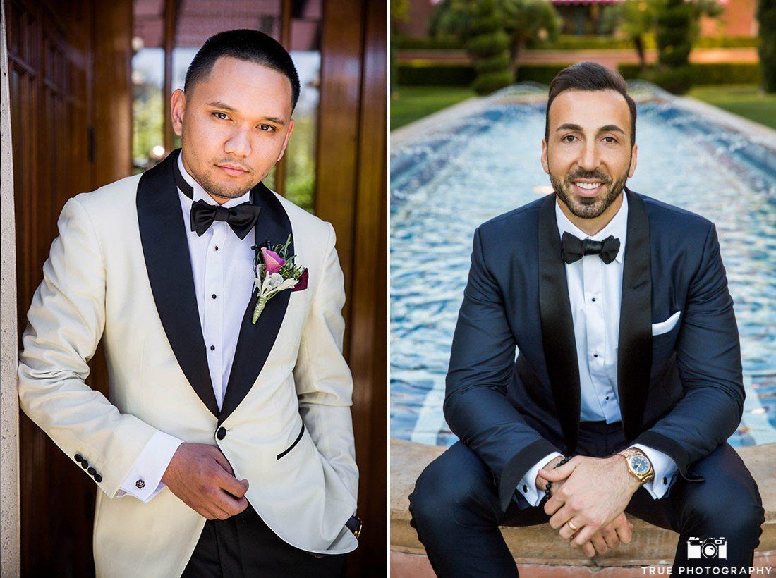 Grooms wearing stylish tuxedos