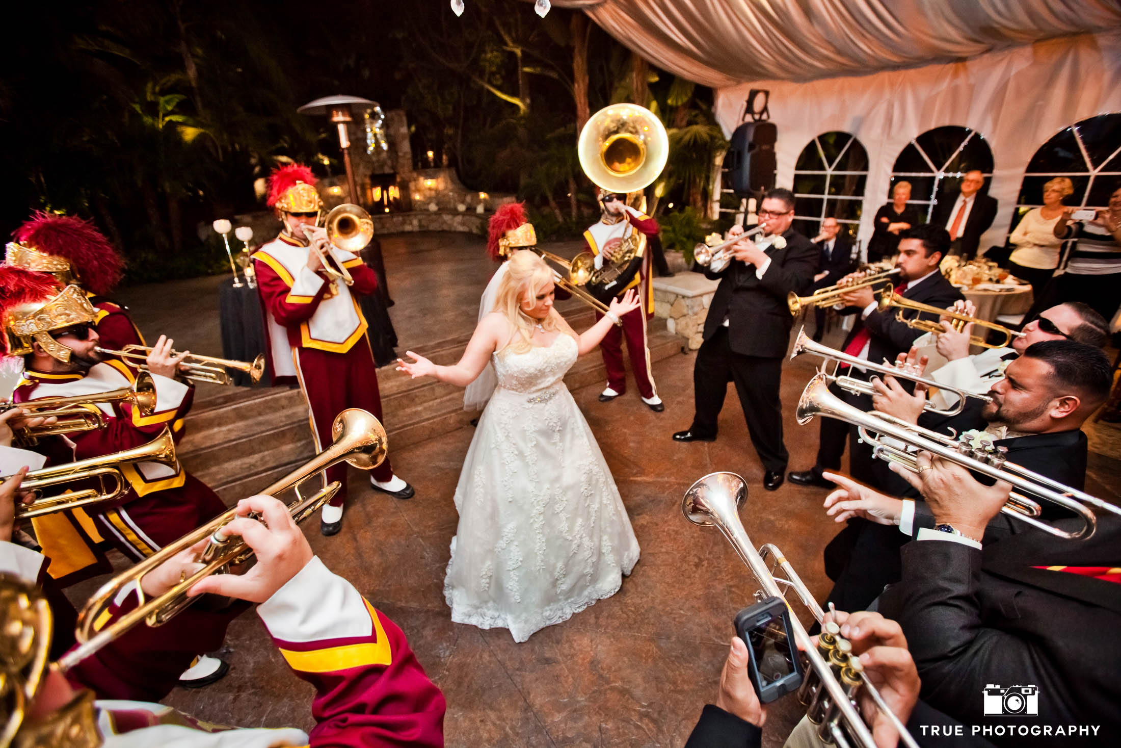 Bride serenaded by band of musicians during wedding reception
