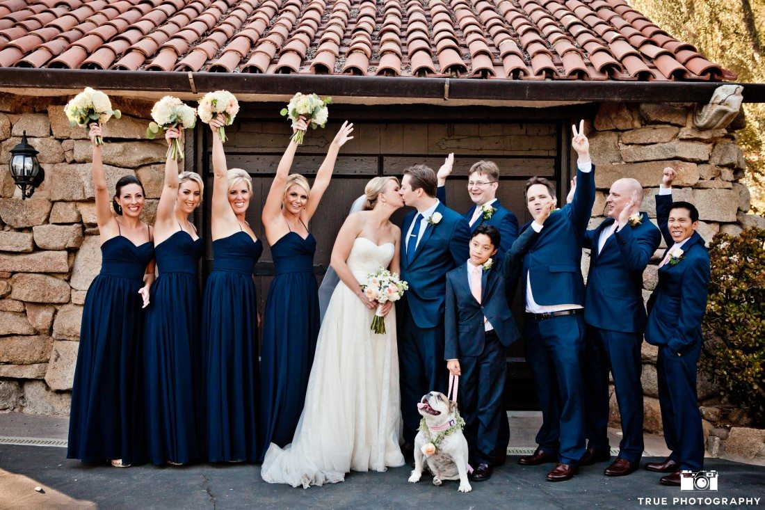 Bridal party photo with a bulldog