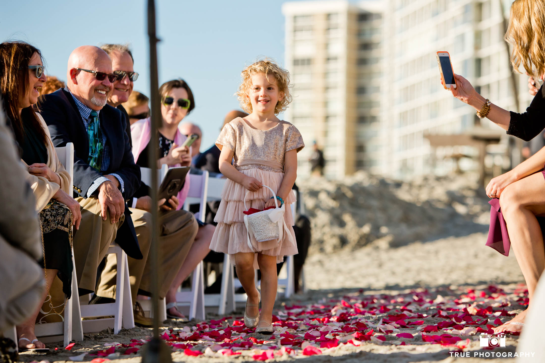 Coronado Wedding Ceremony with flower girl walking down the aisle