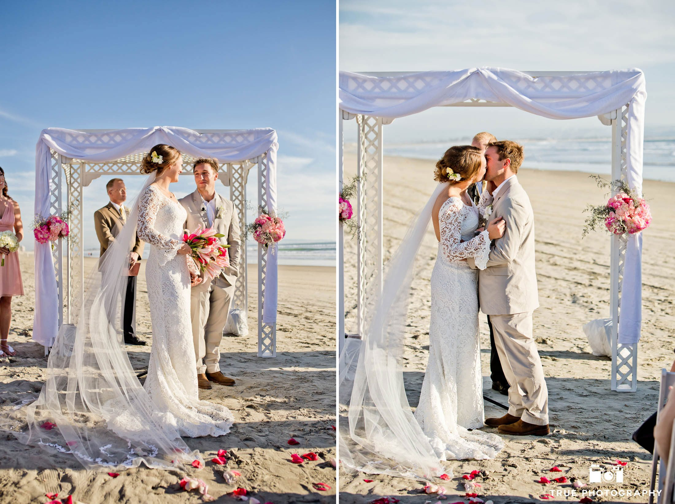 Wedding couple kissing on beach at Coronado