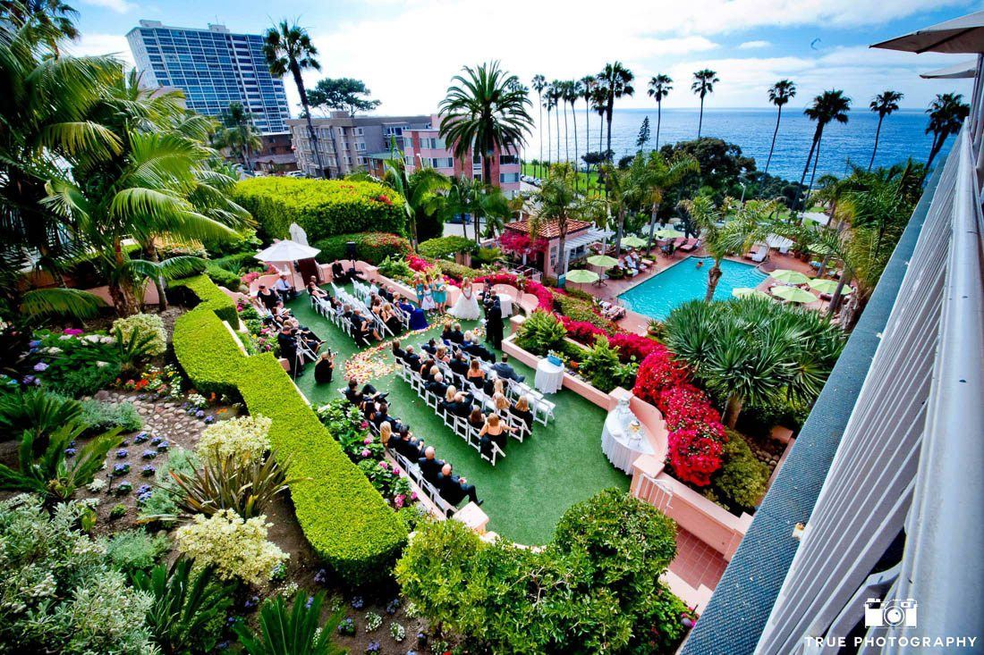 Aerial view of couple's wedding ceremony at La Valencia Hotel