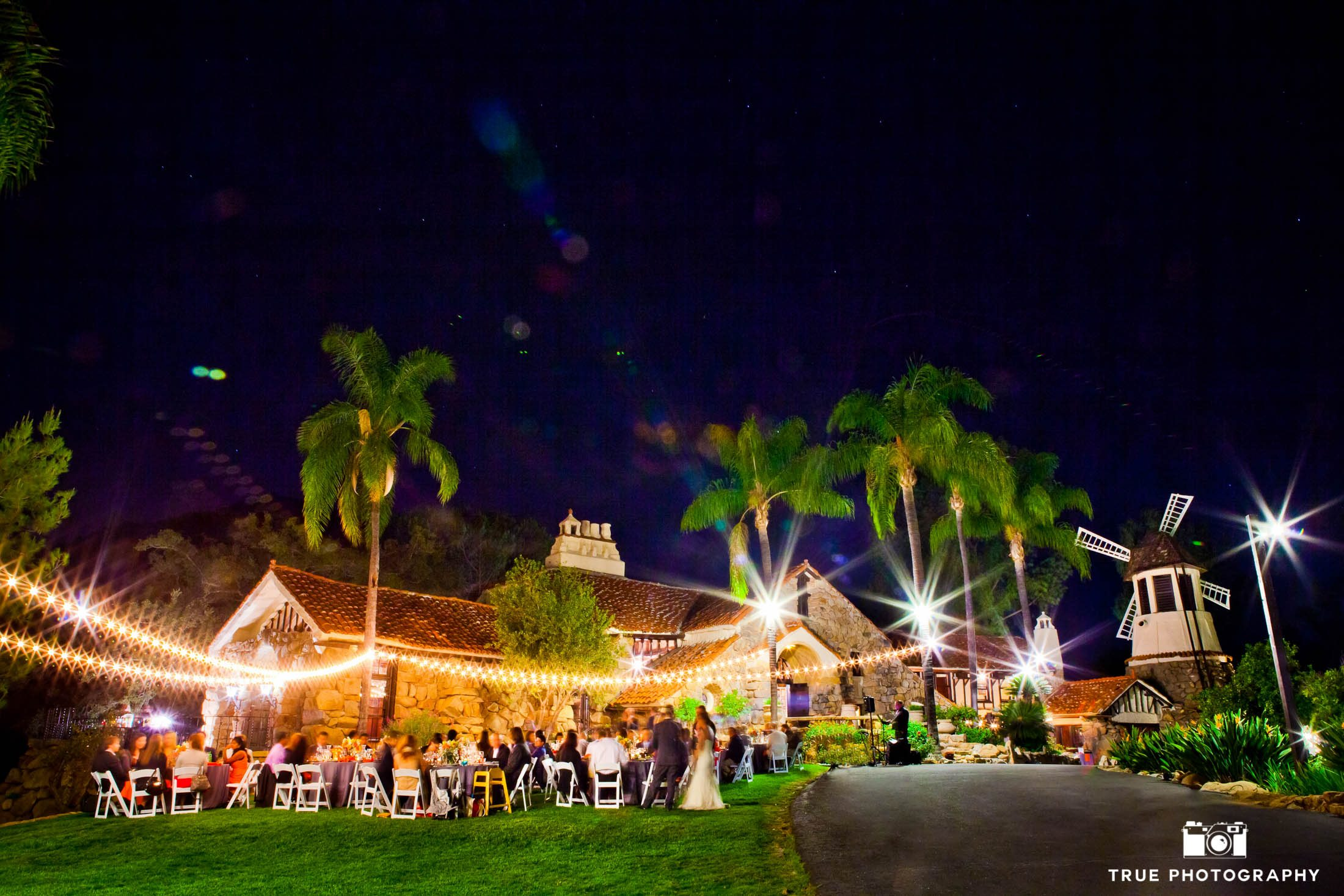 San Diego, California wedding reception night portrait