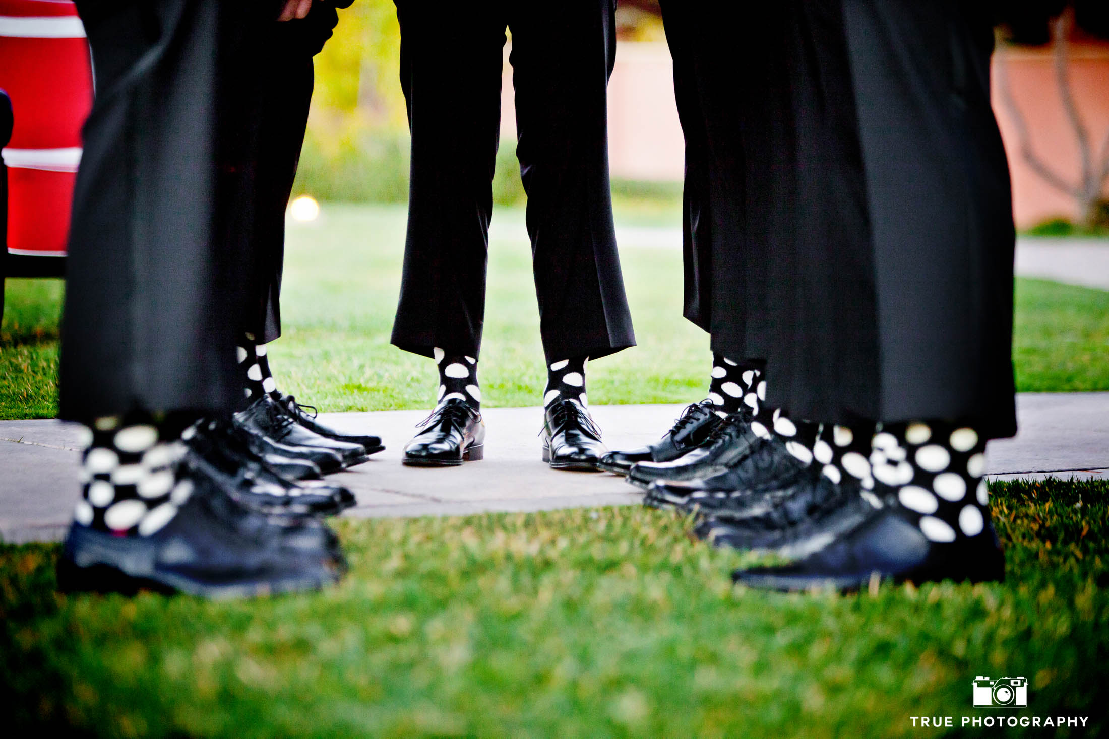 Groomsmen wearing polka dot socks