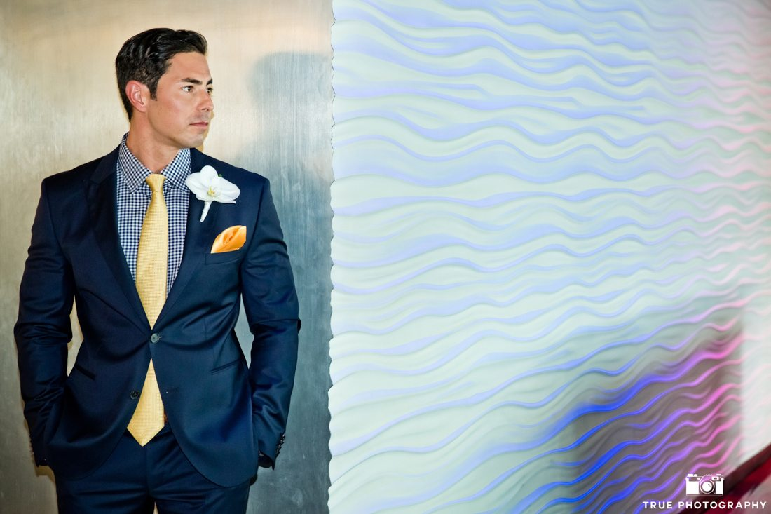 Stylized Portrait Groom with Blue Suit