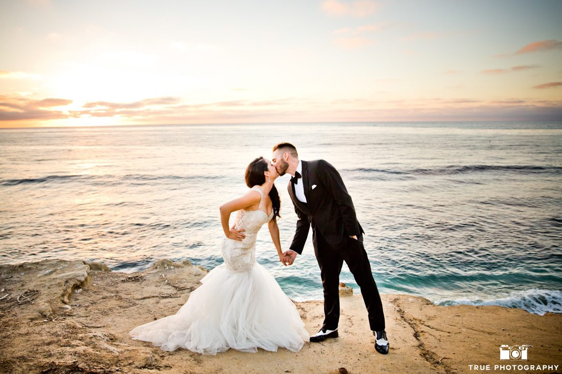 Bride and Groom with style at the beach at sunset
