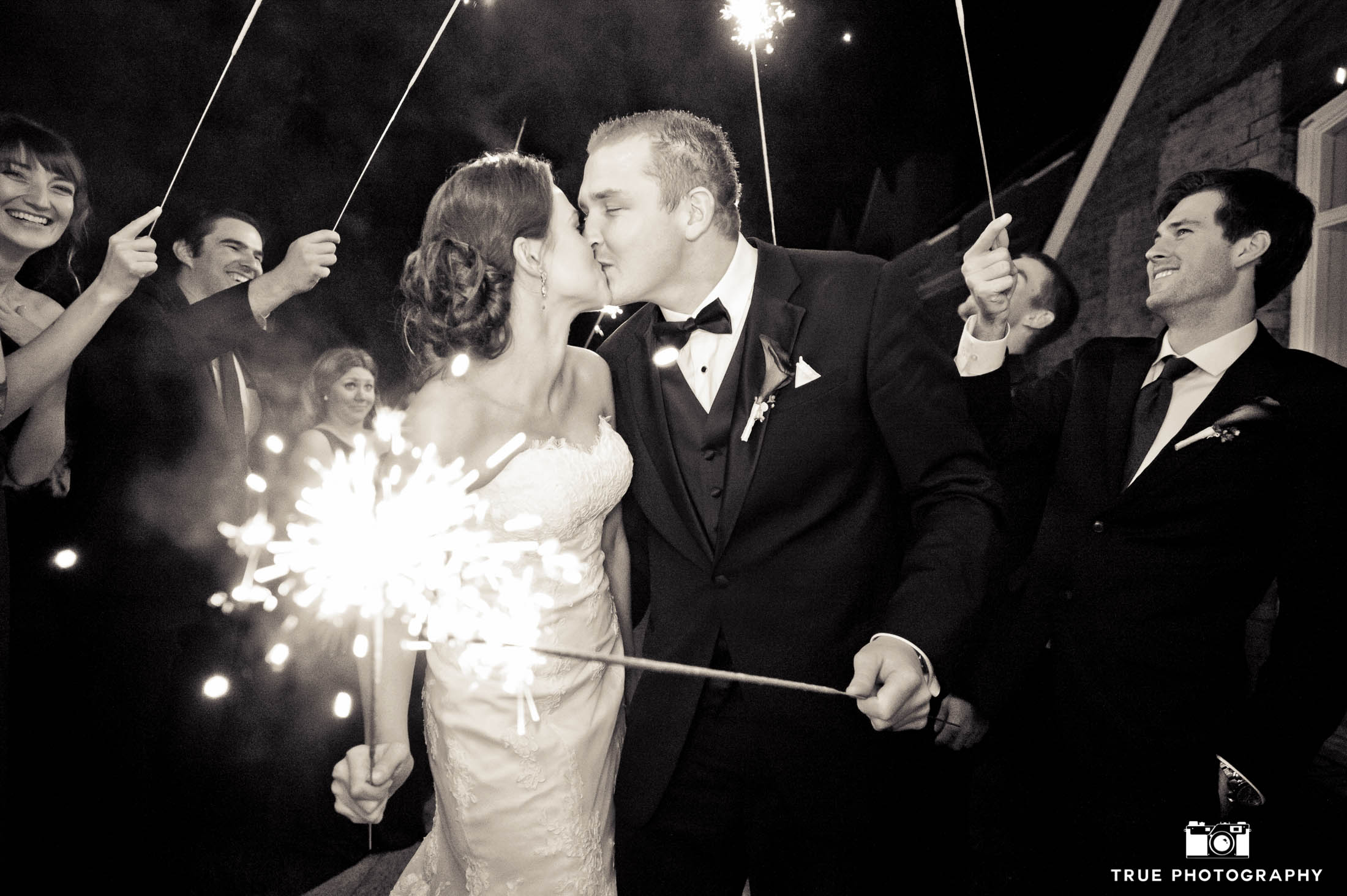 Wedding couple sparkler night shot