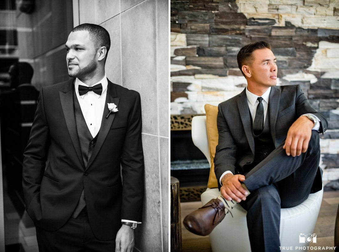 Cool style portrait of grooms