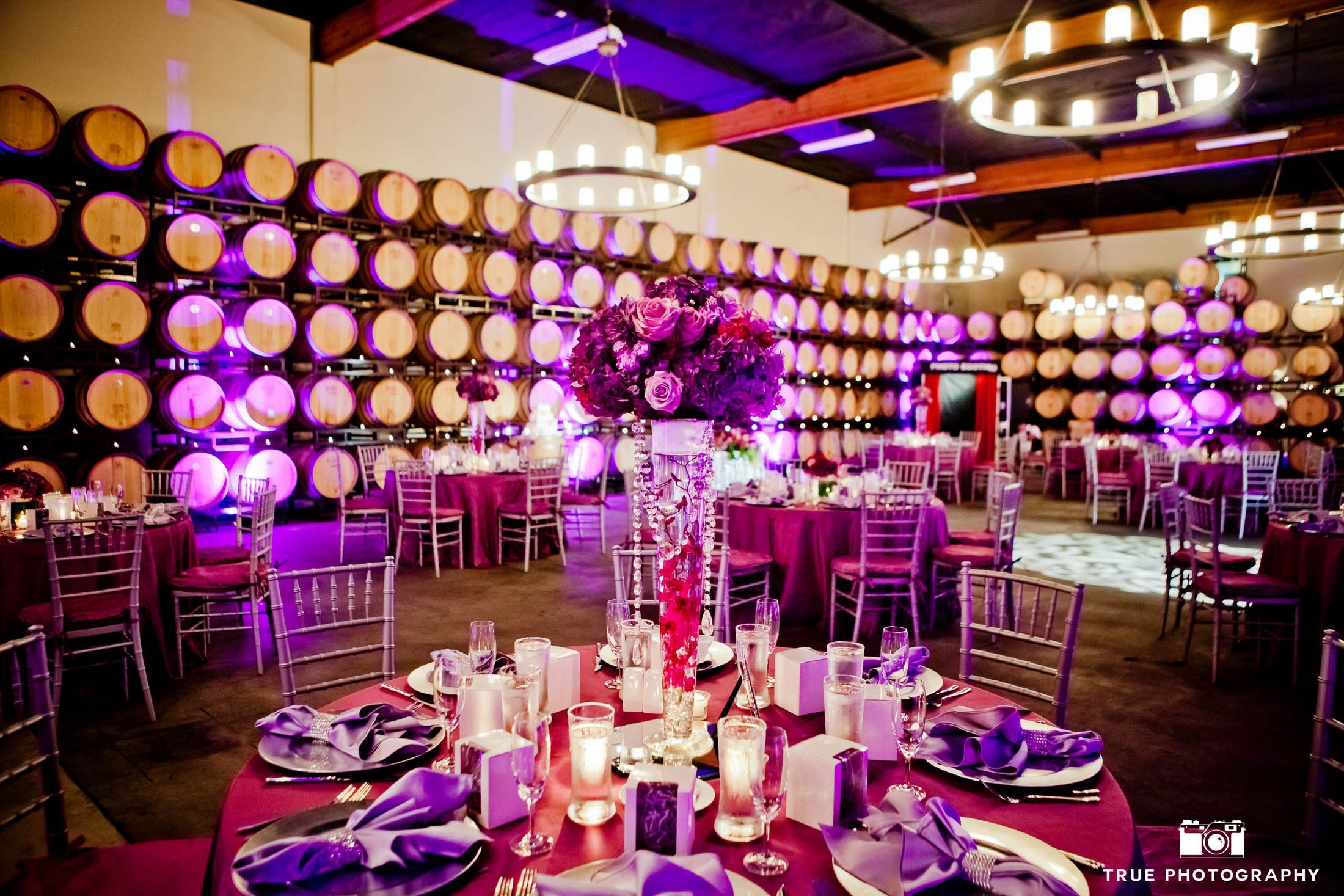 Fuscia Wedding Reception Details at Vineyard