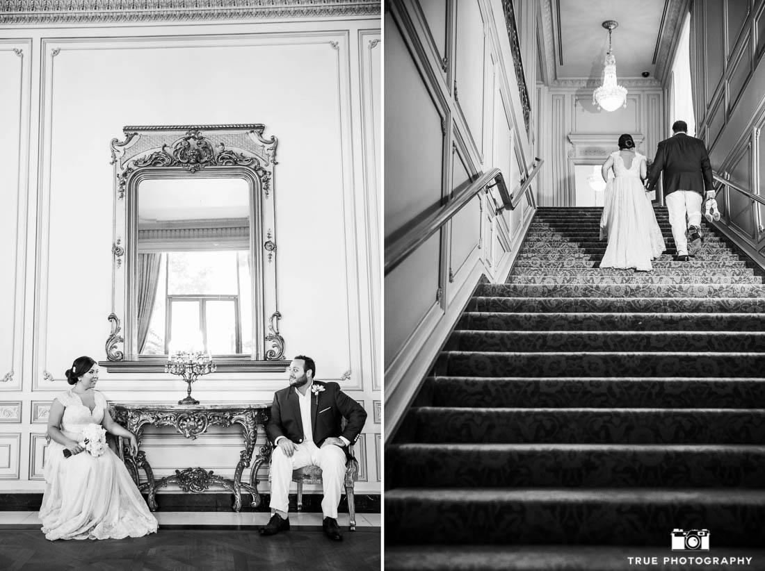Bride and Groom portraits at the Westgate Hotel in Downtown San Diego
